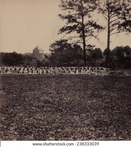 The Civil War, Union prisoners burying ground, Charleston, South Carolina, photograph by George N. Barnard, 1865.