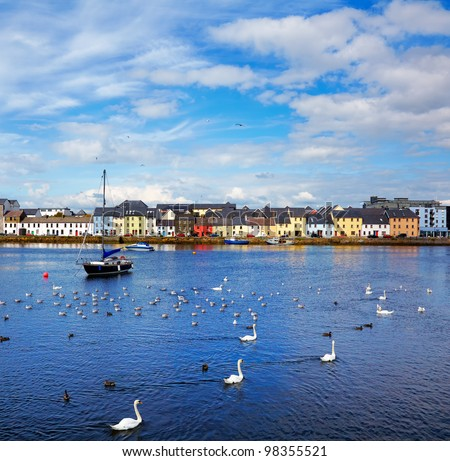The Claddagh in Galway city during summertime, Ireland. - stock photo