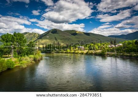 The Clark Fork River, in Missoula, Montana. - stock photo