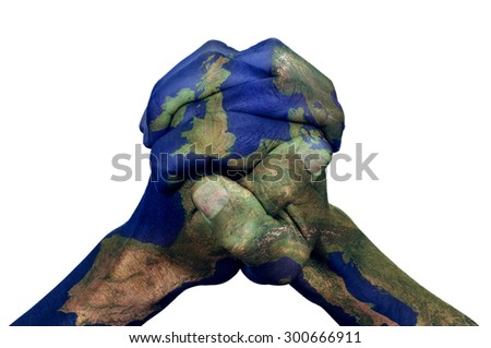 the clasped hands of a young man patterned with a Europe map (furnished by NASA) on a white background, depicting the concept of union - stock photo