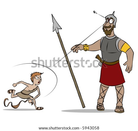 The classic Bible story of David versus Goliath. - stock photo