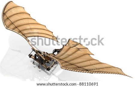 The classic Leonardo Da Vinci flying machine, otherwise known as an ornithopter. Let your dreams take flight! Give lift to your design. - stock photo