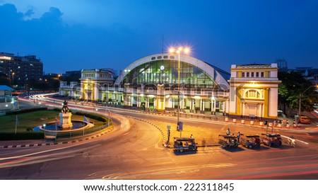 The classic railway station of Thailand (Hua Lamphong twilight in Bangkok) - stock photo