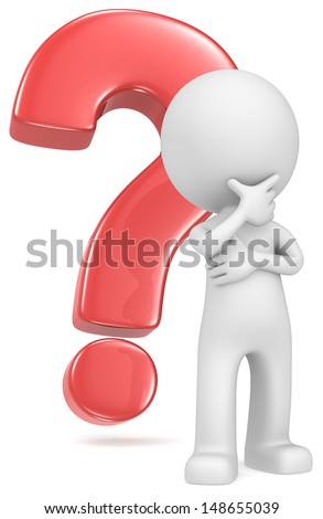 The Classic. The Dude in classic pose in front of red question mark.  - stock photo