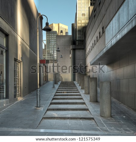 The clean, modern architecture of Punch Lane in Melbourne, Australia. - stock photo