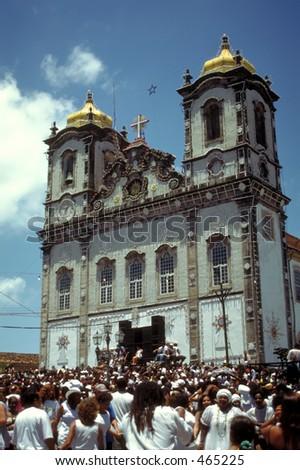 The Cleansing of the Bomfim Church in Salvador da Bahia, Brazil - stock photo