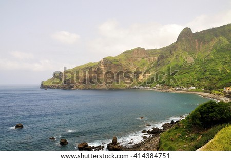 The clear water of the bay of Faja D'Agua on the island of Brava, Cabo Verde