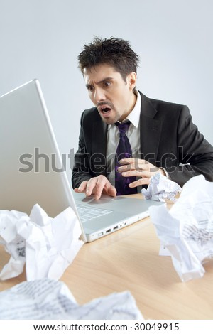 The clerk sits having a difficult situation - stock photo