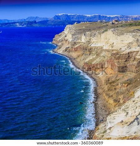 The cliffs on the island of Santorini, Greece - stock photo