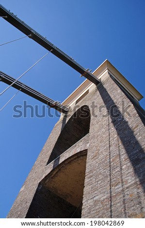 The Clifton Suspension Bridge from 1864 on a sunny day is crossing the Avon Gorge and the River Avon - stock photo