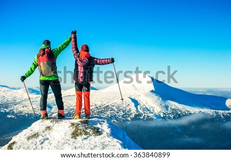 The climbers stay on the the summit