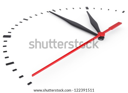 The clock and timestamp without numbers. Isolated render on a white background - stock photo