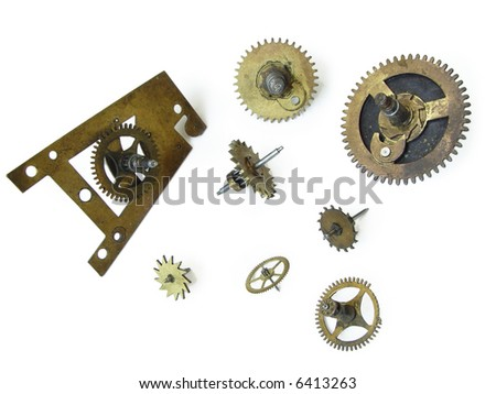 The clock cog-wheels. Objects over white. - stock photo