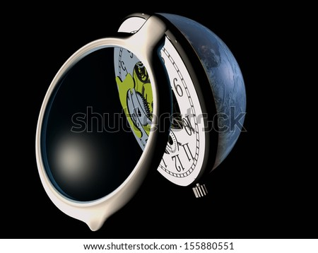 "The clock in the globe.""Elements of this image furnished by NASA"""