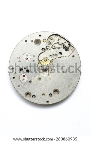The clock mechanism on a white background