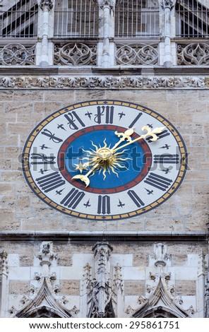 The clock of New City Hall in in Marienplatz, Munich, Germany  - stock photo