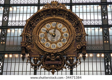 The clock of the museum D'Orsay in Paris - stock photo