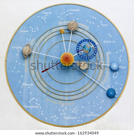 The Clock of the Planets in Pesariis, Italy - stock photo