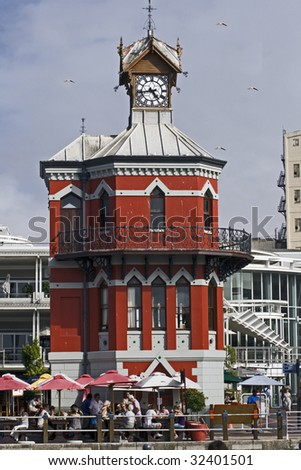 The Clock Tower in the Victoria and Alfred Waterfront in Cape Town, South Africa. - stock photo