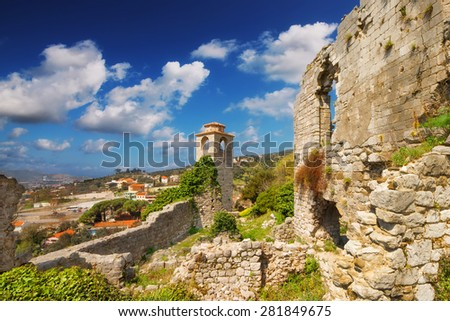 The clock tower of Old Town Bar, Montenegro - stock photo