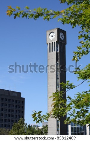 The clock tower on the campus of the University of British Columbia, UBC in Vancouver.
