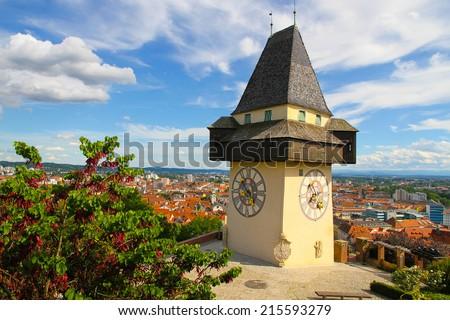 The clock tower (Uhrturm) in Grace (Graz), Styria, Austria, Europe. - stock photo