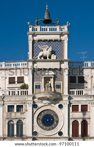 The Clock Tower with astronomical clock (15th century) at Saint Mark's square - Venice, Venezia, Italy, Europe - stock photo