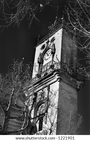 The clocktower of Hotel de Ville in Aix-en-Provence, France. Digital artwork, black and white.  Copy space. - stock photo