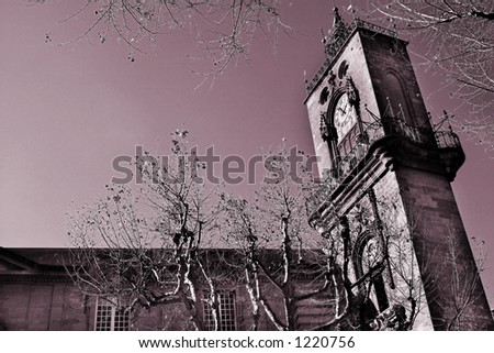 The clocktower of Hotel de Ville in Aix-en-Provence, France.  Digital artwork, copy space. - stock photo