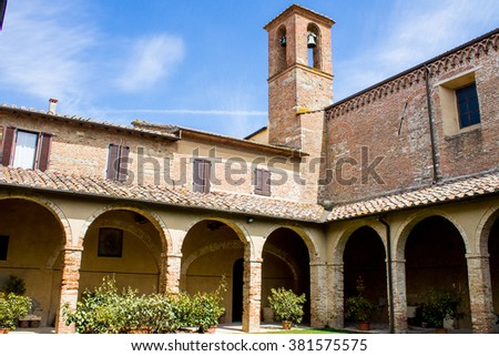 The Cloister of the Convent in the Church of San Francesco in Chiusi near Siena, Tuscany, Italy - stock photo