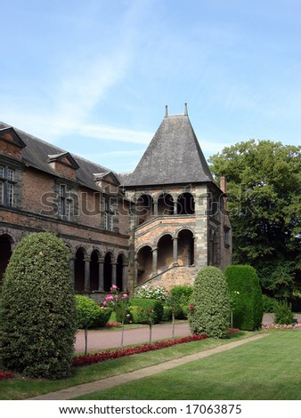 The cloisters of Chateaubriant Chateau, Brittany, France - stock photo