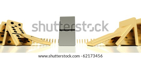 The close plan of golden dominoes bones in action of starting of the dominoes effect which was shoot on a wide-angle lens - stock photo