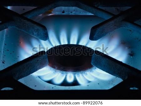 The close up gas burner on a background - stock photo