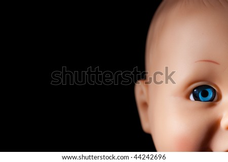 the close up of dolls eye - stock photo