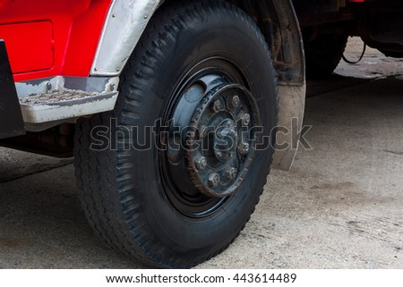The close-up of Wheel fire truck - stock photo