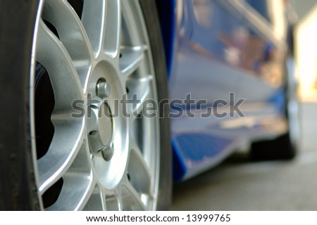The close up shot of car wheel - stock photo