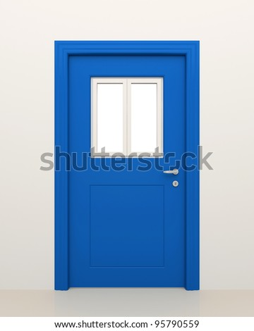 The closed blue door with the closed white window. - stock photo