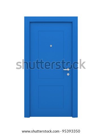 The closed blue door with the handle, the lock isolated on a white background. - stock photo