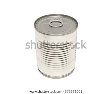 The closed tin cans on a white background. Food can isolated on white. A silver tin can isolated on a white background. - stock photo