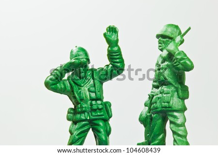 The closeup isolated image of the green toy soldier - stock photo
