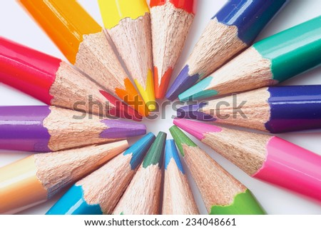 The closeup of many colored pencils