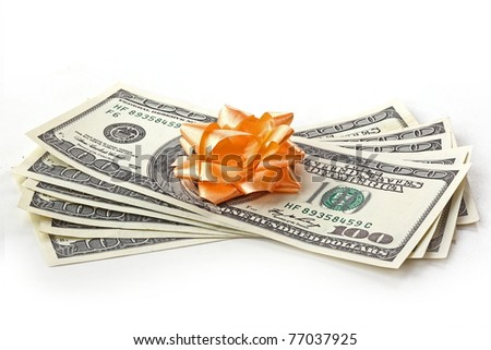 The closeup of money banknotes isolated on white background - stock photo