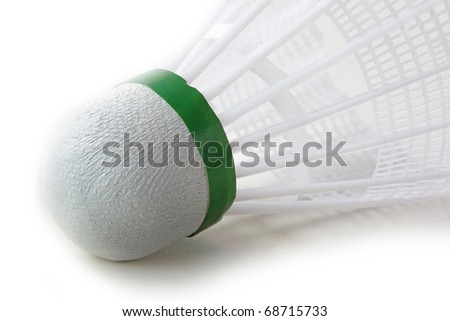 The closeup of shuttlecock on white background - stock photo