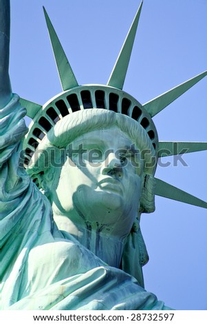 The closeup of the Statue of Liberty in New York Harbor