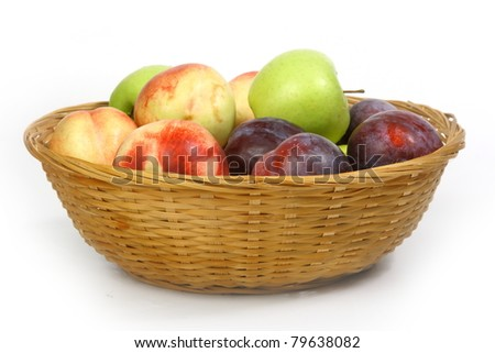 The closeup of various fruits isolated on white background