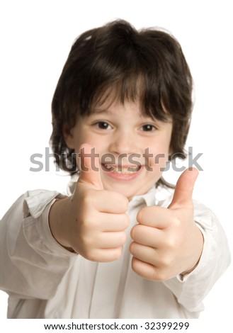 The closeup portrait of little boy with big finger - stock photo