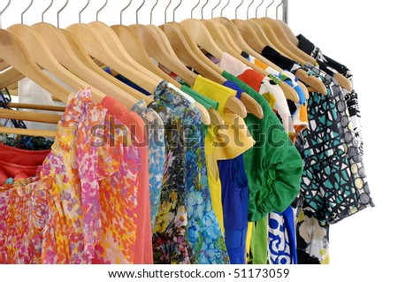 The clothes hangs on a hanger - stock photo