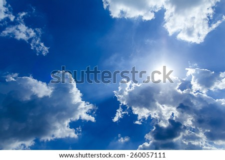 The Cloud and  bright shining sun with lens flare. - stock photo