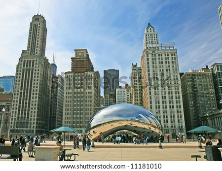 The Cloud Gate in Millennium Park in Chicago - stock photo