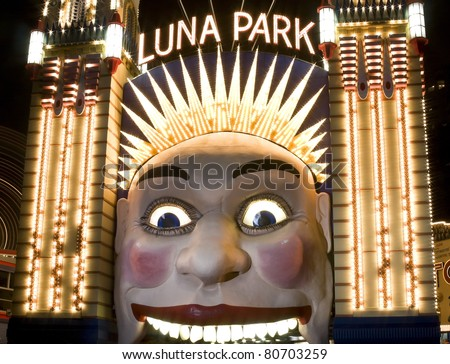 The clown face at the entrance of Luna Park, one of the iconic entertainment precincts in Sydney, Australia - stock photo